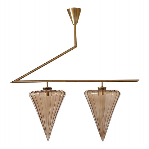 Mid Century Modern Geometrical Chandelier W Murano Glass Attributed To Seguso