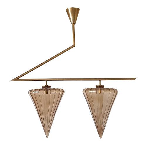 Geometrical Mid Century Modern Chandelier w/Beige Murano glass Seguso Style