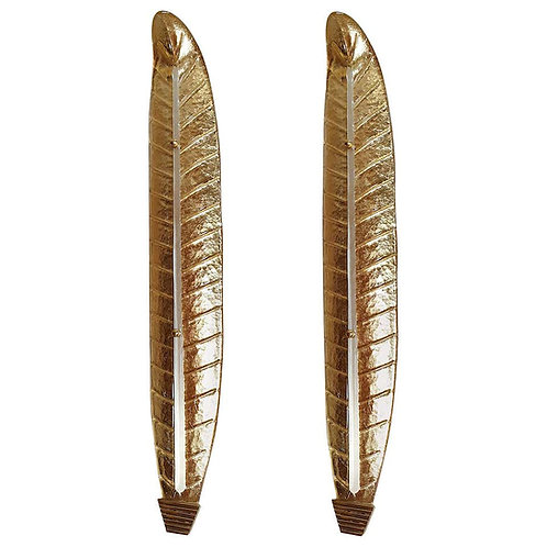 Tall Gold Murano Glass Leaf Sconces, Mid-Century Modern, Barovier Style, 1970s