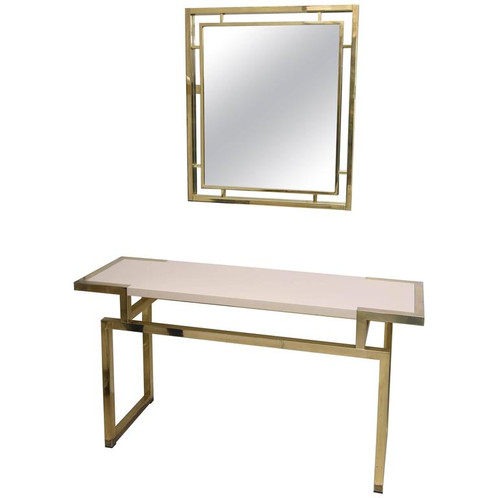 brass console table. Italian Console And Mirror, Brass, Vintage, West Palm Beach Brass Table O
