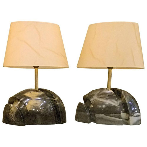 pair of marble base lamps, french, vintage, Dallas