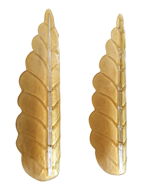 Pair of Large leaf Murano glass Mid Century Modern sconces by Barovier, 1970s