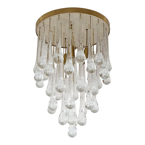 Custom Made Limited Editions Brass/Murano Glass Drops Flush-Mount Chandelier
