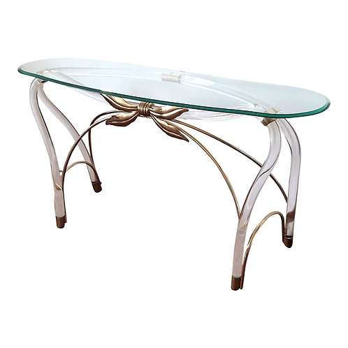 Large Organic Glass Brass & Lucite Mid Century Modern Console Table, Spain 1970s