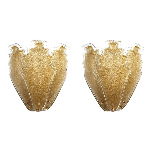 Large Gold Stylized Murano Glass Mid-Century Modern Sconces, Barovier Italy 1970