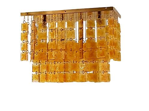 Mid century modern Sciolari honey/brass Murano glass flush mount light