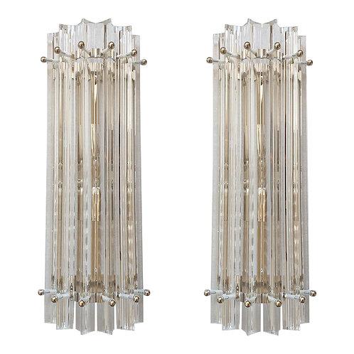 Clear Murano Glass Tubes & Chrome Mid-Century Modern Sconces, Venini Italy