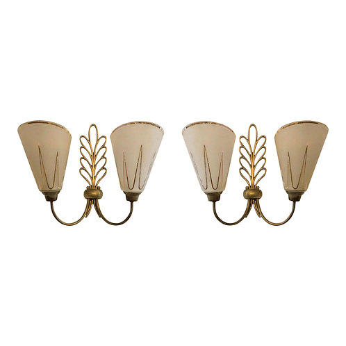Pair of glass and brass, Mid Century Modern wall sconces, by Ezan & Petitot