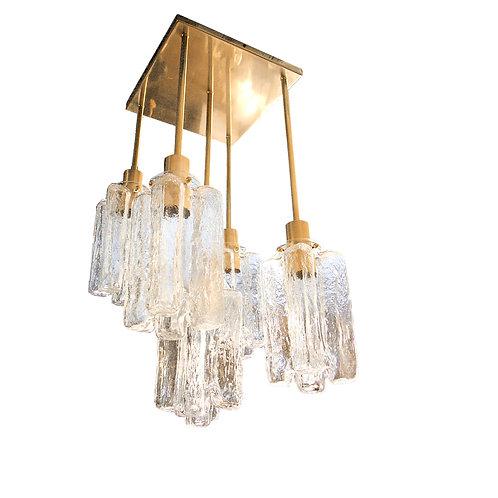 Mid Century Modern Brass & Murano Clear Glass Square Flush Mount Lights, Kalmar