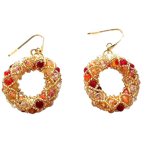 Pair of gold Murano glass beads handmade earrings by artist Paola B.