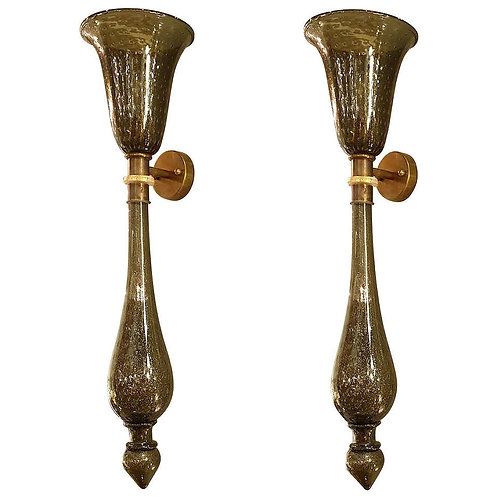 Large Pair of Mid Century Gray/Gold Murano Glass Sconces, Venini style