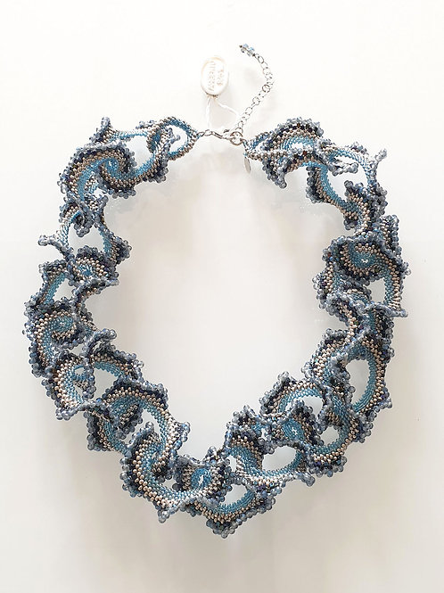 Murano glass beads hand made blue and silver neklace by Paola B.