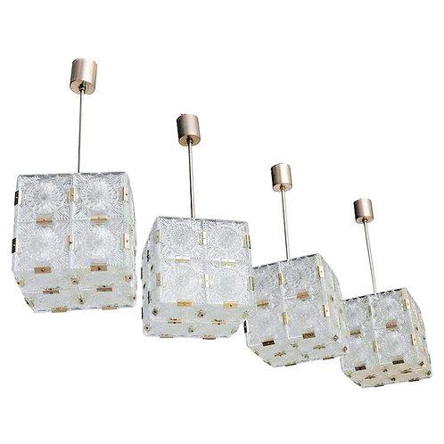 Clear Carved Glass Vintage Cubic Chandeliers/Pendant Lights Kalmar Style 1970