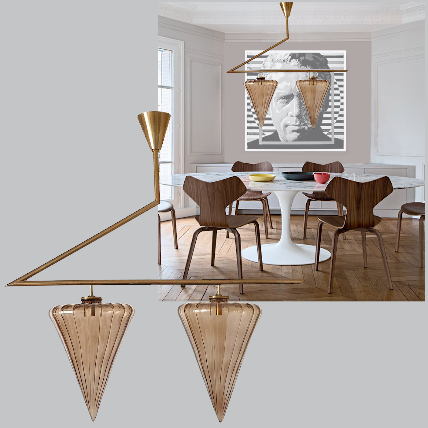 Mid Century Modern geometrical chandelier w/Murano glass attributed to Seguso