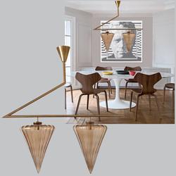 Mid Century Modern geometrical chandelier w/Murano glass attributed to Seguso
