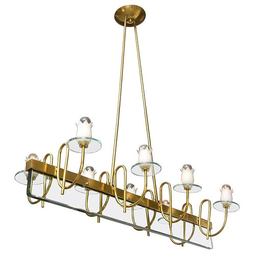 Brass and glass chandelier, vintage, Italian, Houston