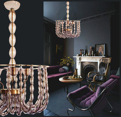 Large Lilac Murano Glass Chandelier, Mid Century Modern, Venini Style 1960s