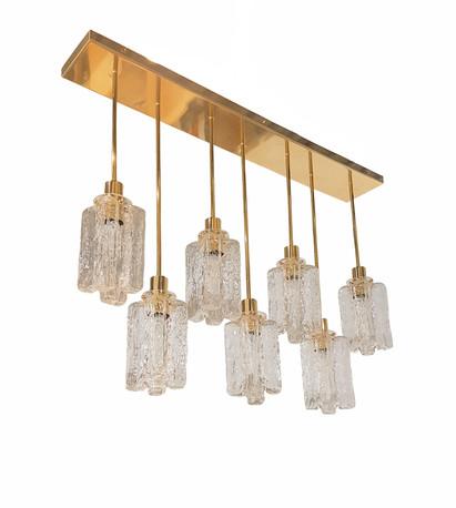 Rectangular Kalmar Murano Glass Brass Chandelier