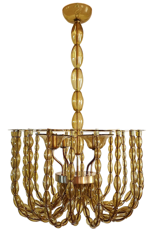 Large Beige Murano Glass Montgolfiere Chandelier Mid Century Modern, Italy 1960
