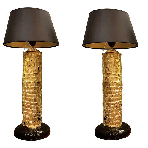 Mid-Century Modern gold thick Murano glass pair of table lamps