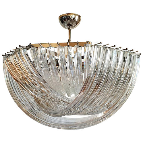 Large Modern Style Vintage Clear Murano Glass Venini Chandelier