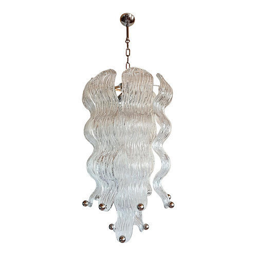 Mid Century Modern Murano Clear Wave glass & chrome chandelier Mazzega style