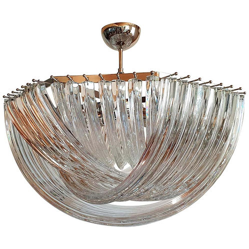 Large Mid-Century Modern Triedri Venini Chandelier, Clear Glass, 2 Available