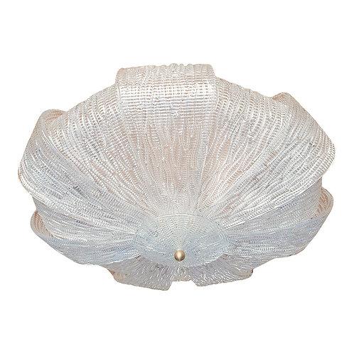 Large Round Murano Glass Mid-Century Modern Flush Mount Chandelier Barovier Styl