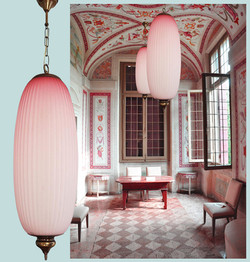 Pink pleated glass lanterns or chandeliers by Caccia Dominioni 1960, 2 available