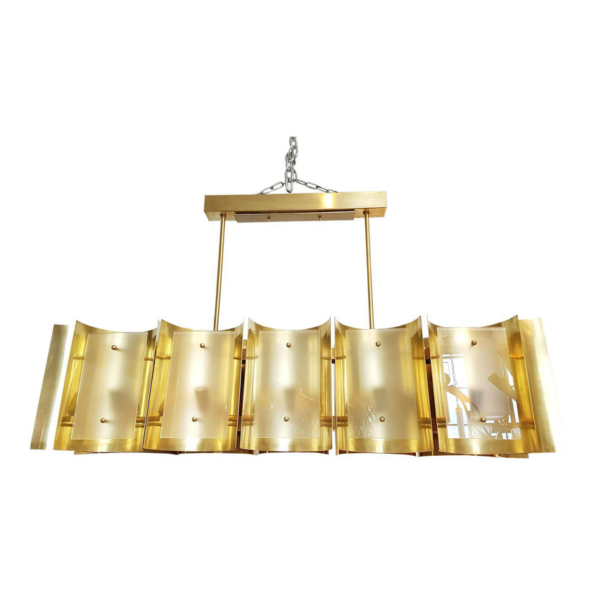DLightus bespoke chandelier: all hand made in Italy, using noble & quality materials: brass & frosted glass. Dimensions & metal finish on demand. Matching sconces available. Info @ dlightny@gmail.com decaso.com/shop/dlightus