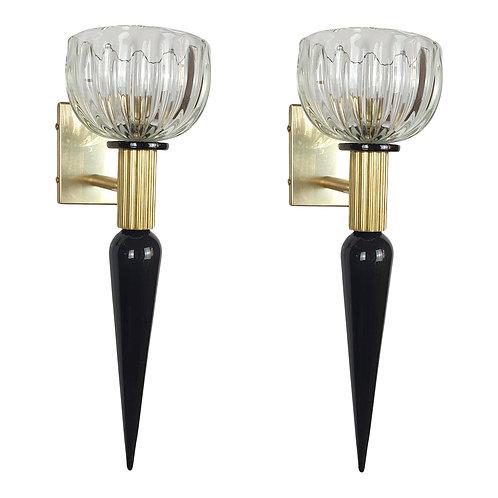 Mid Century Modern Black & Clear Murano Glass & Brass Sconces, Venini Style 1960