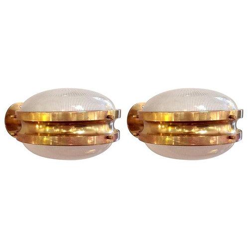 Pair of mid century modern Sergio Mazza 'Gamma' Artemide Brass Sconces