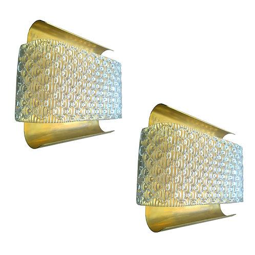 Pair of kalmar Murano glass/brass mid century modern sconces