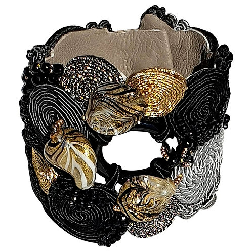 Unique Murano glass beads & silk string black & gold bracelet by artist Paola B.