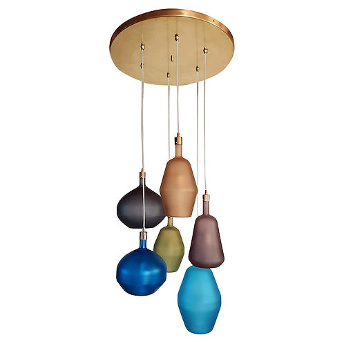 Large Colorful Murano Glass Mid-Century Modern Chandelier, Leucos Style, 1980s