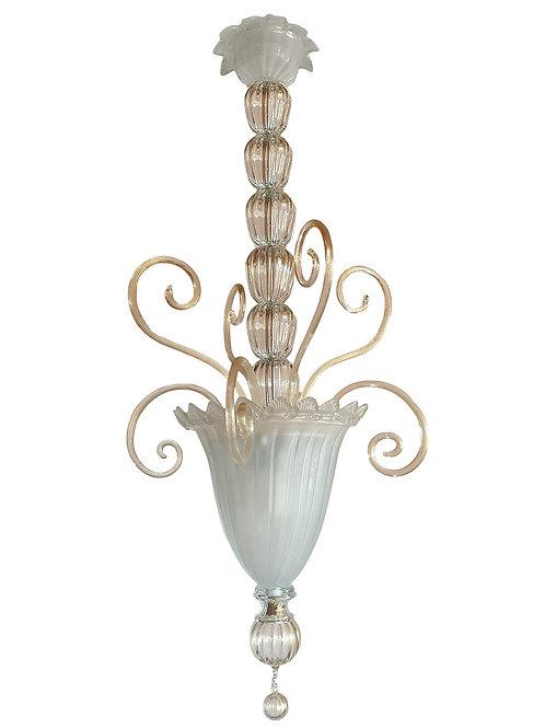 Mid-Century Modern Neoclassical Murano Glass Lantern Venini style Italy, 1960s