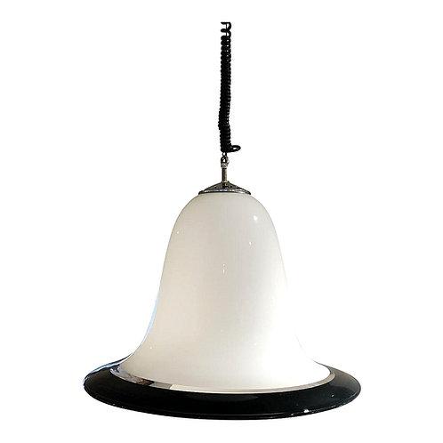 Mid-Century Modern Seguso Murano Glass white & black Pendant Chandelier 1960s