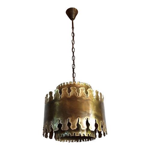 Mid Century Modern brass chandelier, stamped Sorensen, Denmark 1960s