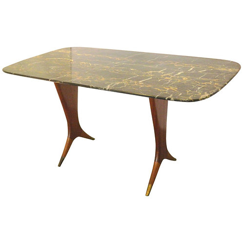 Italian Walnut Black Onyx Coffee Table, vintage, Houston