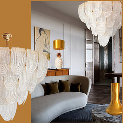 Large Mid-Century Modern translucent Murano glass chandelier by Mazzega