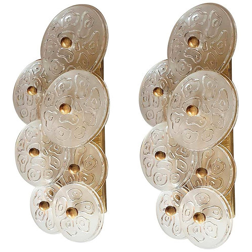 Mid-Century Modern Murano Clear Glass Disc & Brass Sconces, Vistosi Italy 1960s