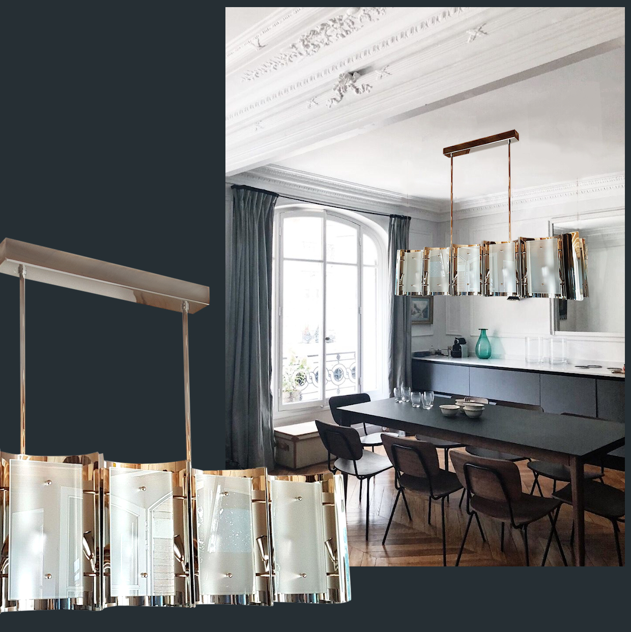 Mid Century Modern Style Dlightus Bespoke Nickel and Frosted Glass Chandelier
