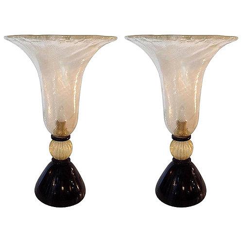 Murano glass lamps, pair mid century Houston