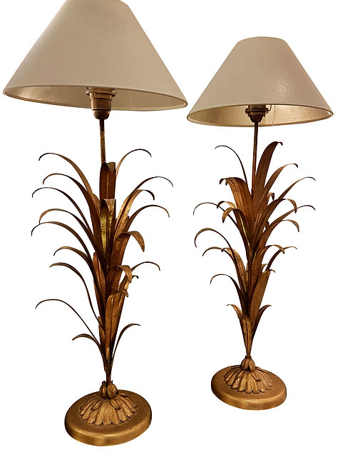 Pair of Mid Century Modern gilt metal wheat table lamps, France