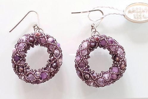 Pair of Purple Murano glass beads hand made earrings by artist Paola B.