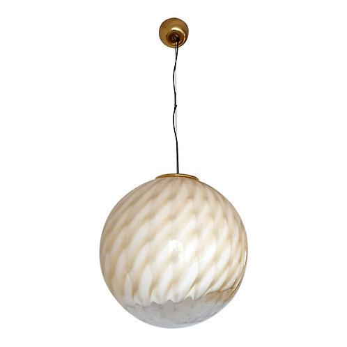 Large Mid Century Modern white & beige Murano glass globe, stamped Venini