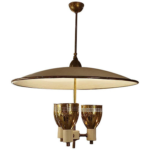 Brass & Enamel Mid-Century Modern Chandelier E Wormley for Lightolier, USA 1950s