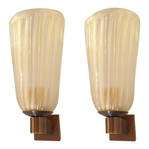 Mid Century Modern Ivory Murano Glass neoclassical Sconces, Italy 1970s