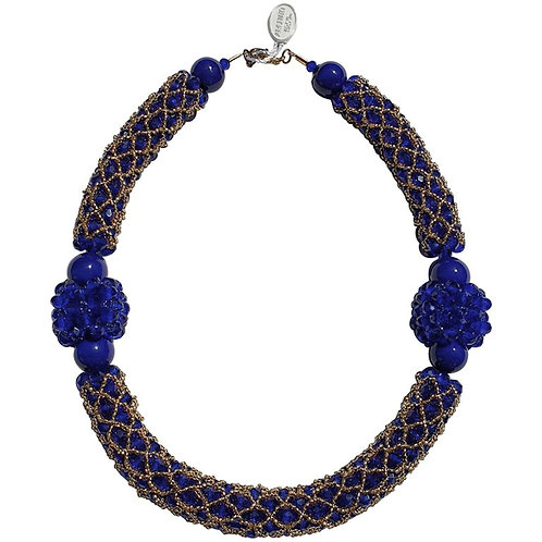Murano glass beads handmade blue & gold necklace by artist Paola B.