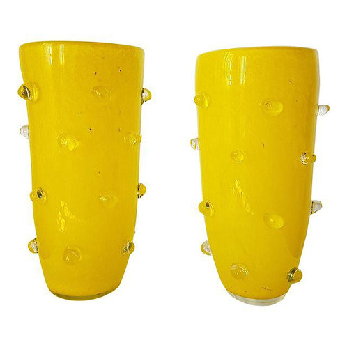 Pair of yellow Murano glass vases, attr to Cenedese, 1980's.